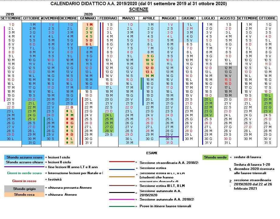 Calendario Novembre E Dicembre 2020.Calendari Dipartimento Di Scienze Della Vita E Dell Ambiente